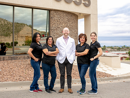 The Mesa Street Dental team in front of the dentist office in El Paso