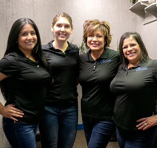 Some of the team at Mesa Street Dental sporting custom shirts